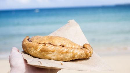 Cornish Pasty at the Beach in St Ives