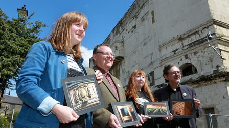 The Burnley Empire Trust team Sophie Gibson, Allen Thomasson, Jackie and Shaun McCree by the site of