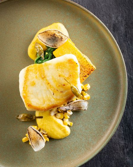A striking wild halibut, sweetcorn, onion and chicken oyster dish