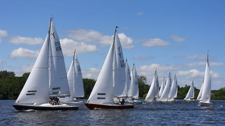 Boats racing at the Norfolk Broads Yacht Club at Wroxham (photo: Denise Bradley)