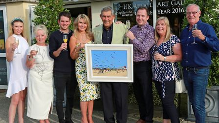 Competition winner, Ken Roberts from Fairhaven with his 'Kite Festival St Annes' with Sue and Giles