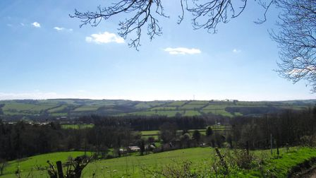 The route has many lovely viewpoints across the surrounding countryside; this view is from the footp