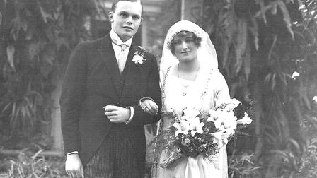 HAPPY COUPLE: Charles and Pamela on their wedding day. The photograph was taken at Holy Wells, the C