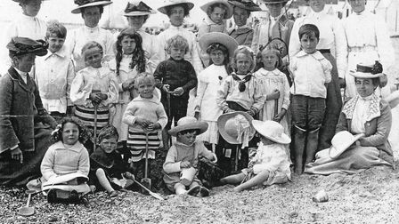 DAY OUT: A family group at Felixstowe, with nannies, in about 1906. The resort was a favourite desti