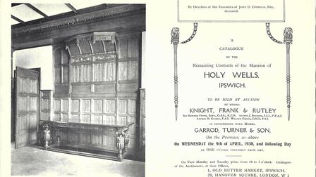 The cover of the auction catalogue from 1930 as the contents of Holy Wells are sold. Jane Dismore th