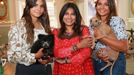 Nisha Katona with daughters, Tia and India and dogs, Bear and Goose