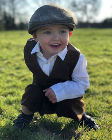 Tommy Greenwood age 2 in Tilly Ann British tweed flat cap
