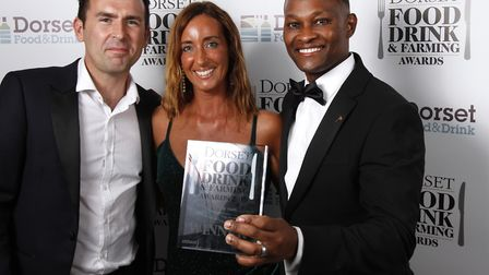 Chef Of The Year winner, Robert Ndungu from The Acorn Inn at Evershot, with his wife Maria, and Olli