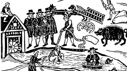 Mary Sutton, the swimming of a witch in 1608, Her cartwheel was broken: it was believed that if th