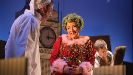 Darren Lawrence (Scrooge) and Claire Storey (Ghost of Christmas Present). Photo by Steven Barber.