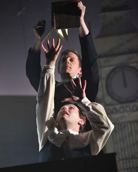 Pete Ashmore (Mr Grimes) and Max Gallagher (Young Scrooge). Photo by Robert Day