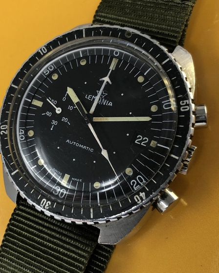 A rare Lemania South Africa Air Force chronograph from the 1980s currently on sale at www.vintagewat