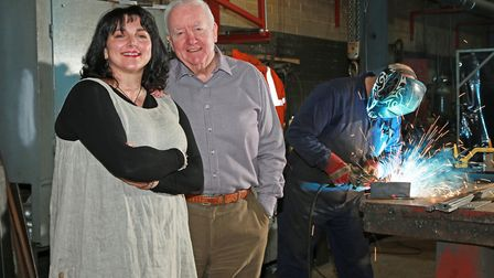 Artist Sian Elizabeth with her sponsor, John Parrott, at his Boothstown engineering company