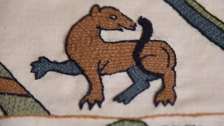 A detail from the first panel of the modern Bayeux-style tapestry being made at Norwich Castle using