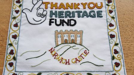 Embroidered thank you to the Heritage Fund for funding the Castle Keep project (photo: Denise Bradle