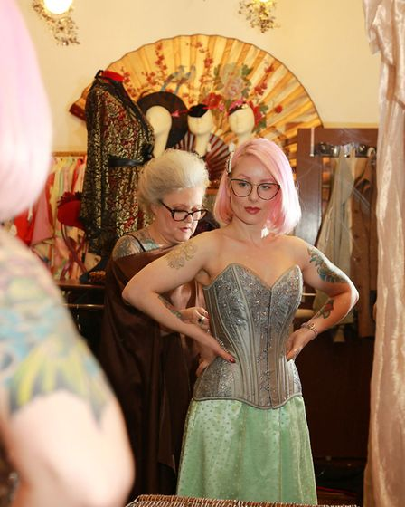 Ewa Allen is fitted for a corset by Lynn McKay of Kiku Boutique