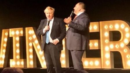 Wynne Evans is pictured with Boris Johnson at the Tory black and white ball. Photograph: Twitter.