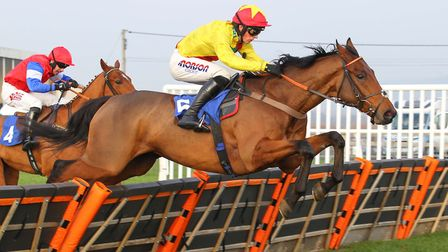 Harry piloting Rhythm Is A Dancer to a win over the hurdles at local track Wincanton (c) Turfpix