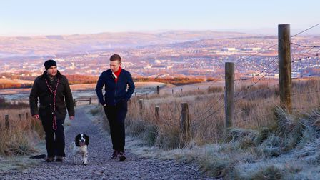 Dave Walker and Sam Keenan on an early morning walk