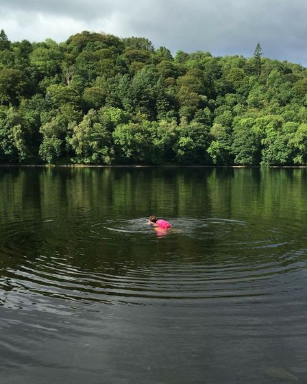 Jean Hill swimming in Grasmere by Jackie Risman