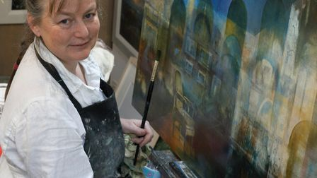 Kate Bentley at work in her studio at Brigsteer in the Lyth Valley