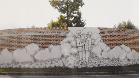 The new memorial in Le Strem to those who were massacred, mostly Royal Norfolks at Le Paradis, North