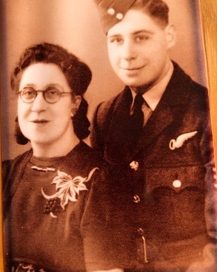 George Davies aged 19 in uniform with his mother