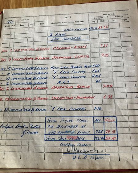 Each bombing raid was recorded in a book that George still has