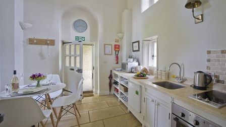 Kitchen area, the kitchen units were made in house by Holkham buildings maintenance team. Mugs and c