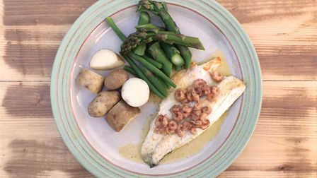 Sea Bass, potted brown shrimp, asparagus and green beans. Photo: Dominic Castle