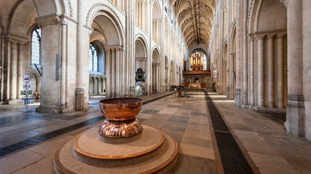 The magnificent Norwich Cathedral nave, seen from near the copper font. Photo: Bill Smith