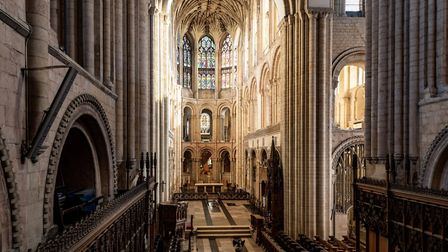 An empty and silenrt Norwich Cathedral. Photo: Bill Smith