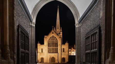 Norwich Cathedral seen through the arch of the Erpingham gate. Photo: Bill Smith