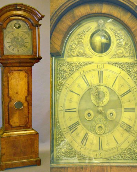 This brass-faced longcase clock, dating from about 1750, was discovered in a cottage, the entire con