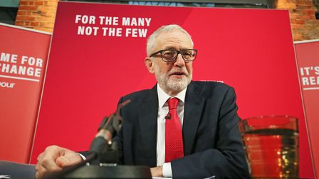 Labour Party leader Jeremy Corbyn during a press conference in central London, whilst on the general