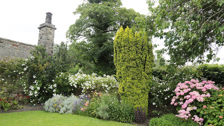 One of the spectacular planted beds to the side of the hall