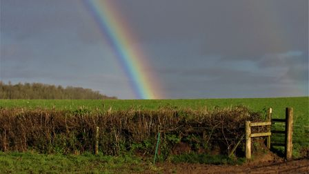 A rainbow across the farmland between Peadon and Durborough. From one angle, Hinkley Point was right