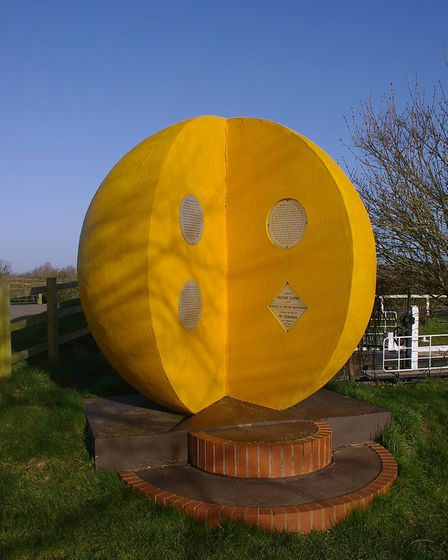 The Somerset Space Walk's sun by the bridge over the Bridgwater Canal at Hedging CREDIT mattbuck/ W