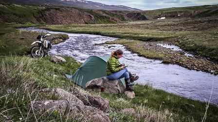 Making some notes with the stunning Icelandic scenery as a backdrop. Photo: Helen Lloyd