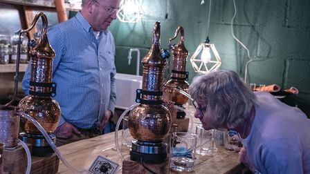In normal times, members of the public can distil their own gin at Shed 1, like David and Gill Weild