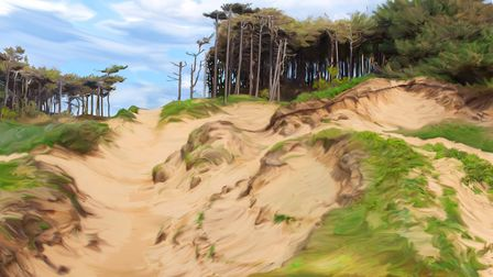 Dune Pines, Rico's most popular painting of the Formby coast