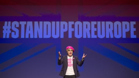 Comedian Eddie Izzard speaks at the University of Sussex, Brighton in a final push for the Remain Ca