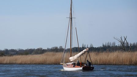 A yacht makes its way on the River Bure. Picture: DENISE BRADLEY