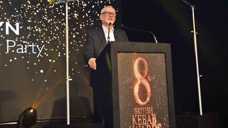 Labour leader Jeremy Corbyn at the British Kebab Awards. Photograph: Ali haydar Yesilyurt/The Britis