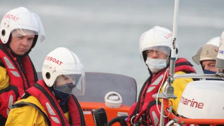 Sea Palling lifeboat crew, masked for protection, in training. Photo: Sea Palling Lifeboat