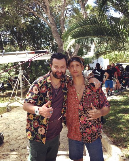 Jamie on the set of the Netflix drama White Lines in Ibiza with Daniel Mays