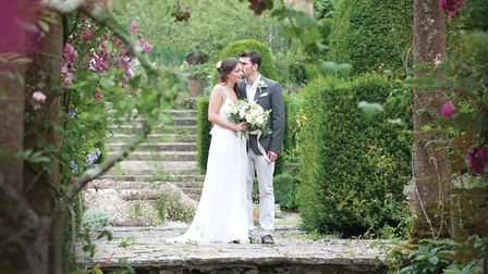 Couple photographed in the gardens at Mapperton Photo: Thomas Foreman Photography
