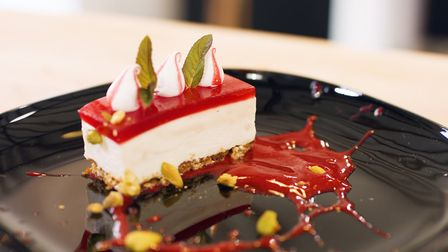 Raspberry cheesecake with a hobnob-style biscuit base Photo Crispin Hutton