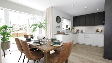 A open plan kitchen and dining area