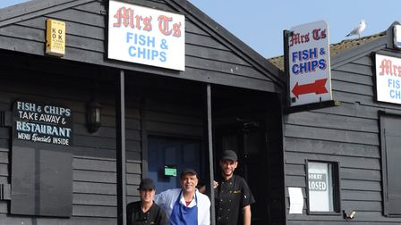 Ready to serve you - Chris Christou, George Christou and Carol Hatt of Mrs T's Fish and Chips in Sou